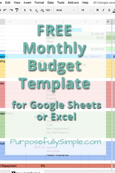 Monthly Budget Template  Purposefully Simple