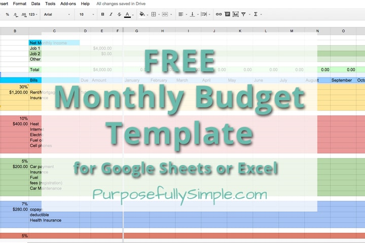 Free Monthly Budget Template  Purposefully Simple