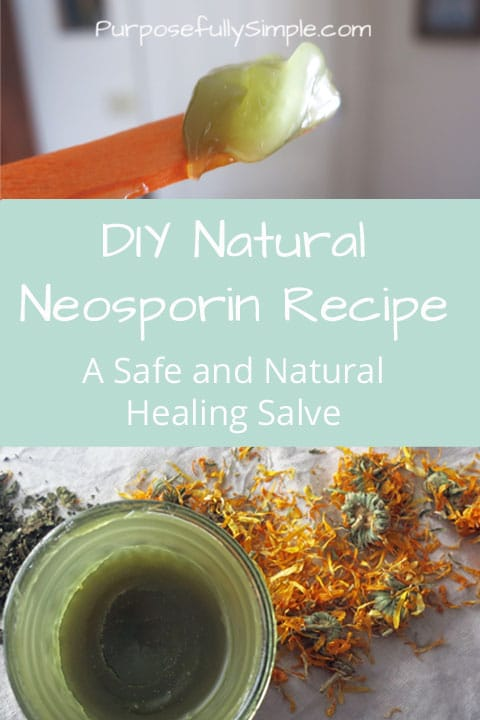 If you're avoiding toxic chemicals in your home you'll love this natural neosporin recipe. This salve helps heal cuts, scrapes, bruises, etc... naturally!