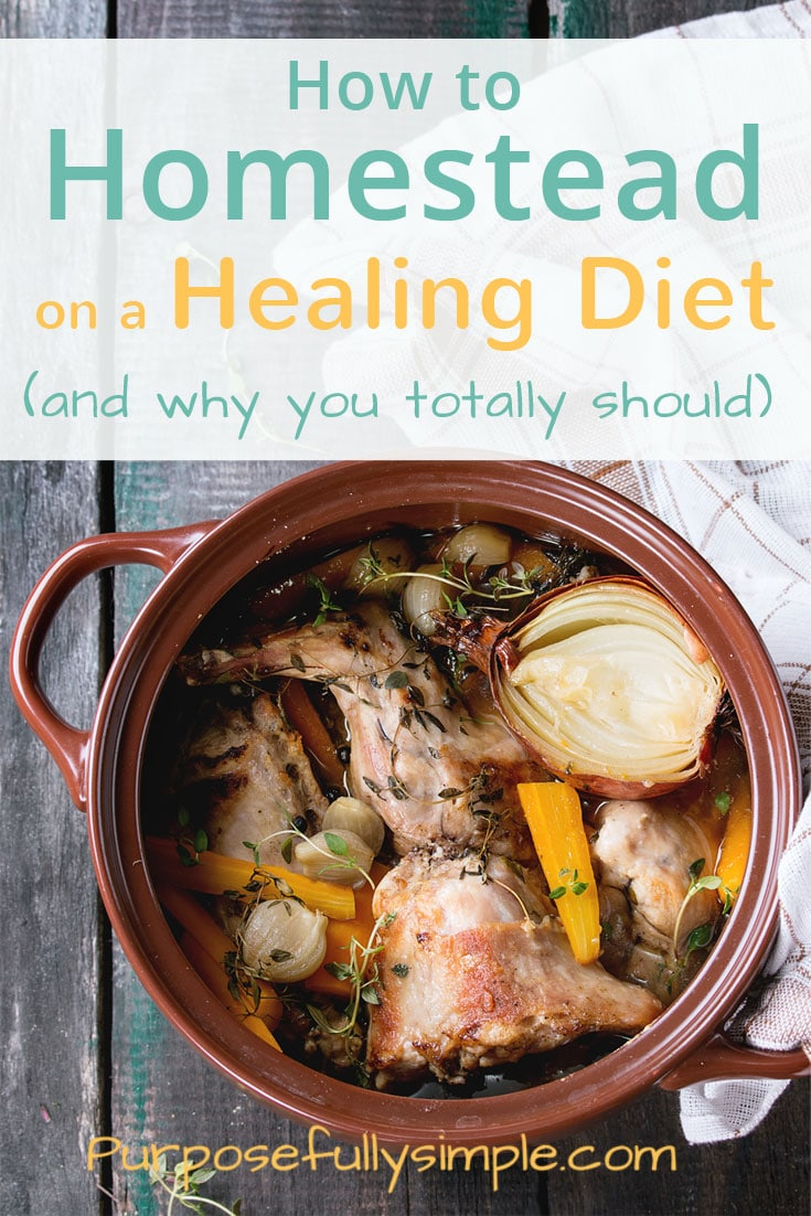 Homesteading can help you make a healing diet work for your life and your budget. Be healthier and happier homesteading on a healing diet. #healing diet #homesteading
