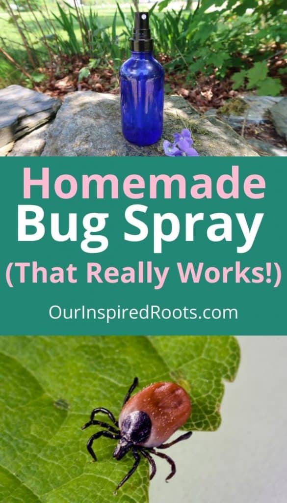 glass bottle filled with bug spray, tick on leaf, text that says: homemade bug spray that really works