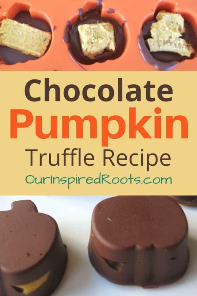 chocolates shaped like pumpkin with pumpkin truffle inside