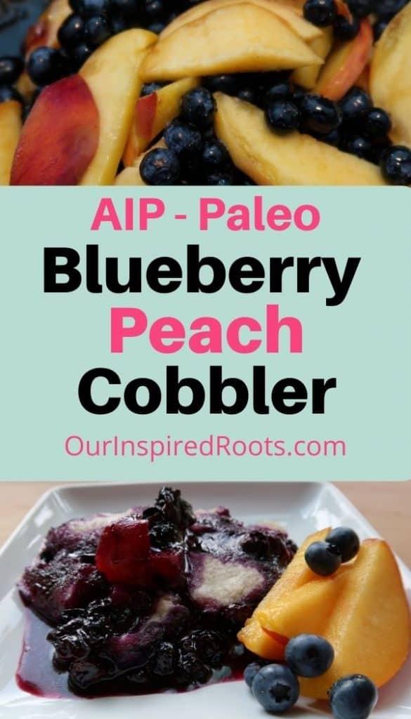 blueberry peach cobbler on plate