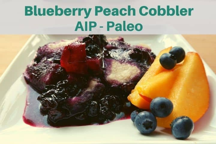 blueberry peach cobbler on white plate