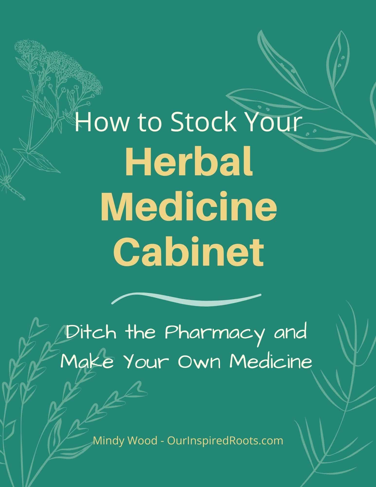 "cover of ebook ""how to stock your herbal medicine cabinet"" with herbal flourishes"