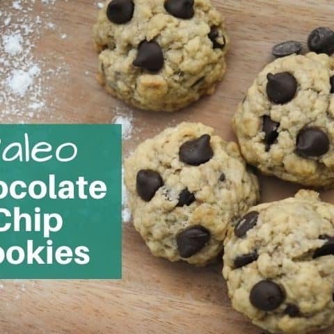 paleo chocolate chip cookies displayed on a cutting board